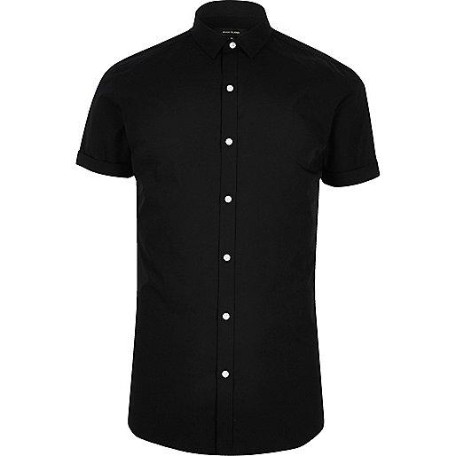 Black short sleeve smart slim fit shirt