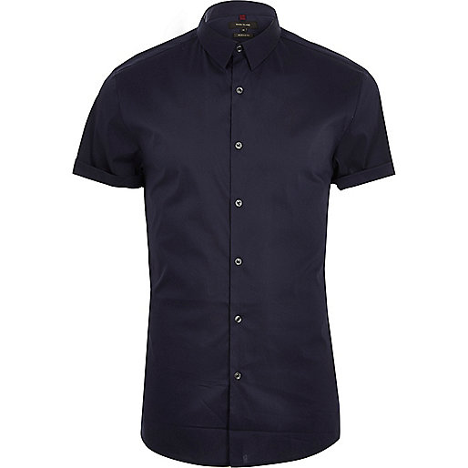 Navy blue muscle fit short sleeve shirt