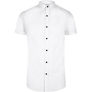 White smart short sleeve slim fit shirt