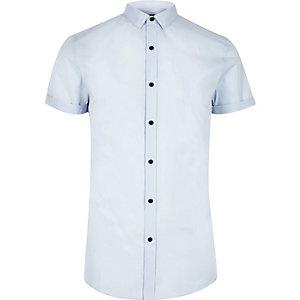 Light blue smart short sleeve slim fit shirt