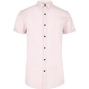 Pinkes Slim Fit Hemd mit kurzen Ärmeln