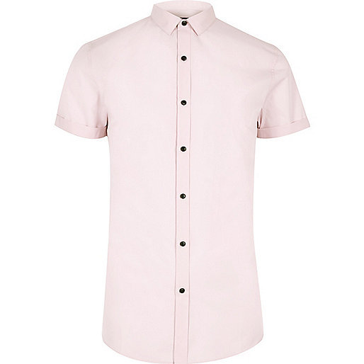 Pink short sleeve smart slim fit shirt