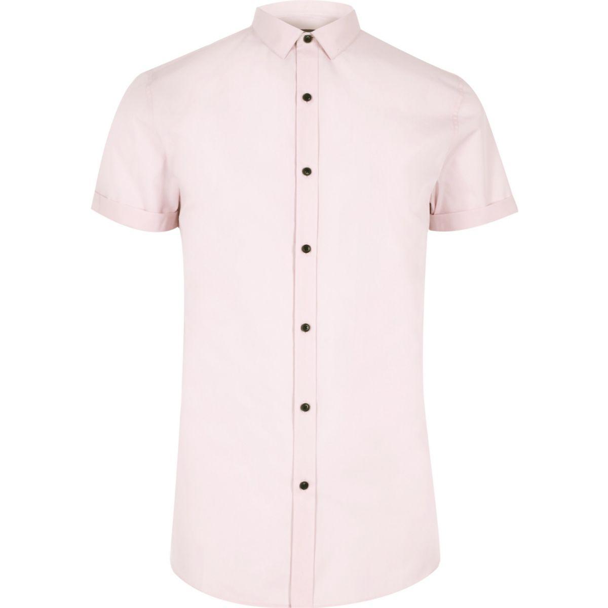 Pink short sleeve smart slim fit shirt