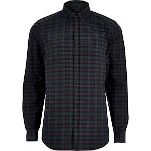 Chemise casual à carreaux verte coupe slim
