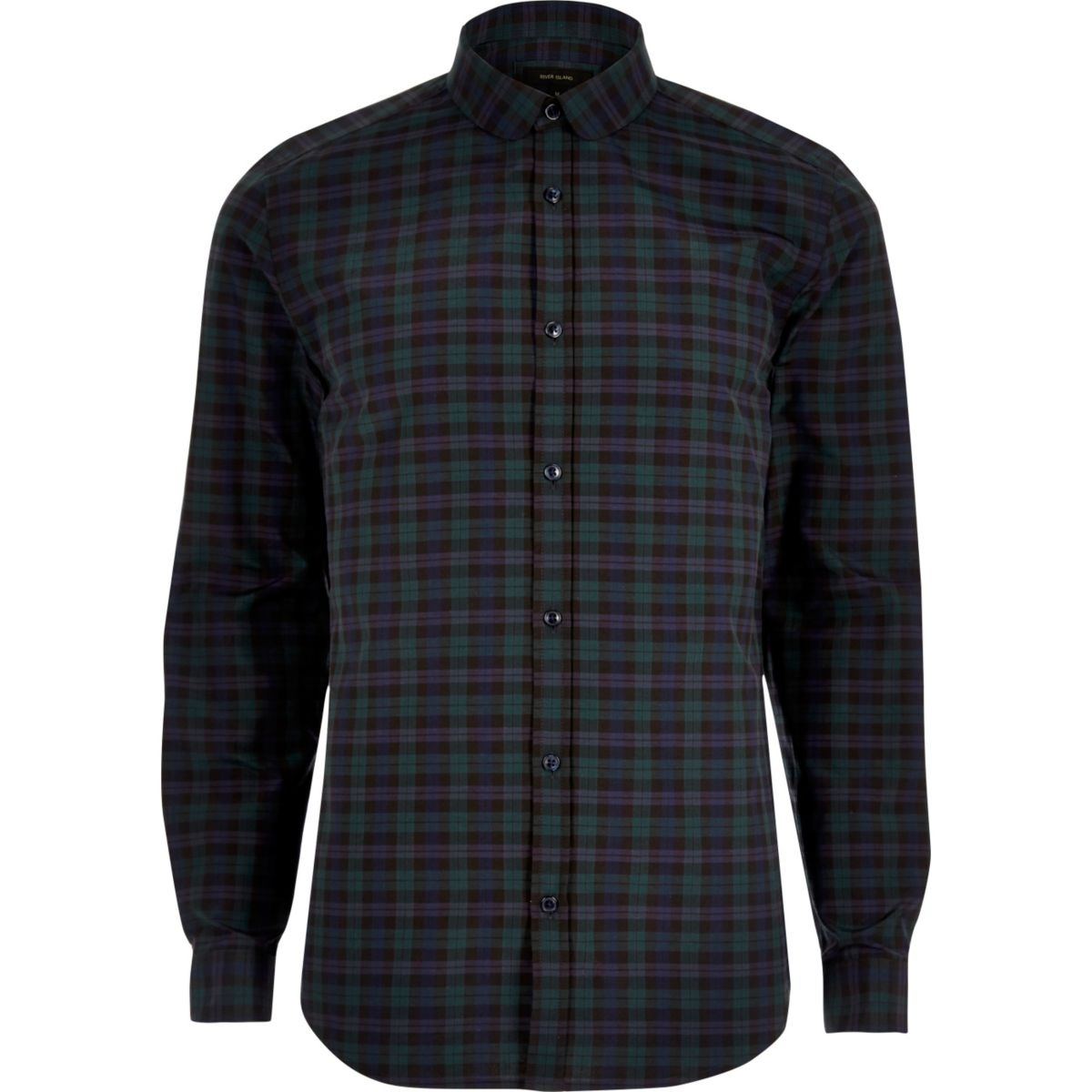 Green smart check slim fit shirt