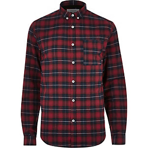 Red casual check shirt