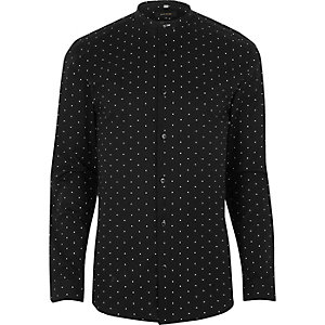 Black print muscle fit grandad smart shirt