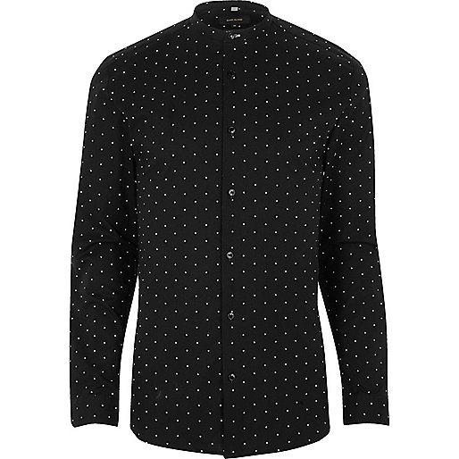 Black print muscle fit grandad smart shirt