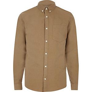 Camelkleurig casual Oxford overhemd