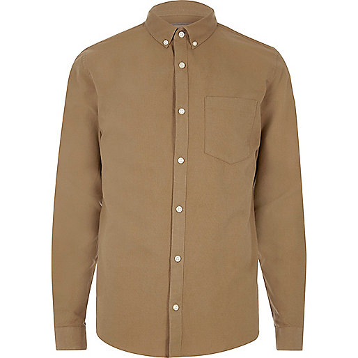 Camel casual Oxford shirt
