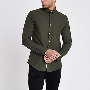 Green long sleeve button-down Oxford shirt