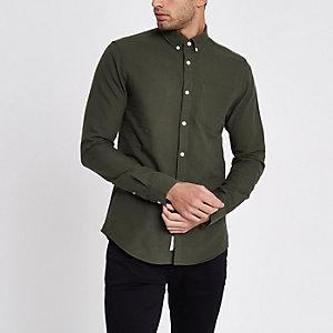 Grünes, langärmliges Oxford-Hemd