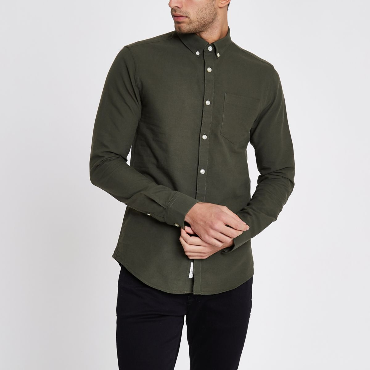 Green long sleeve button-down Oxford shirt