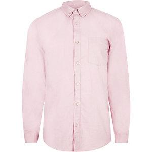 Zachtroze casual Oxford overhemd