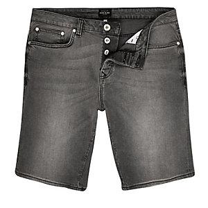 Short en jean slim gris