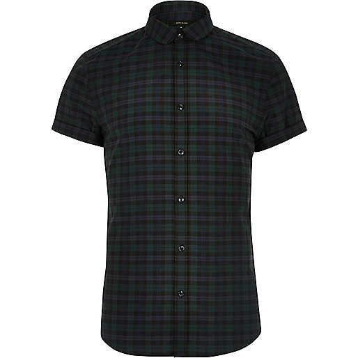 Green smart check slim fit short sleeve shirt