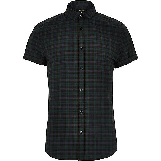 Green smart check slim fit short sleeve shirt