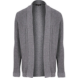 Grey ribbed open cardigan