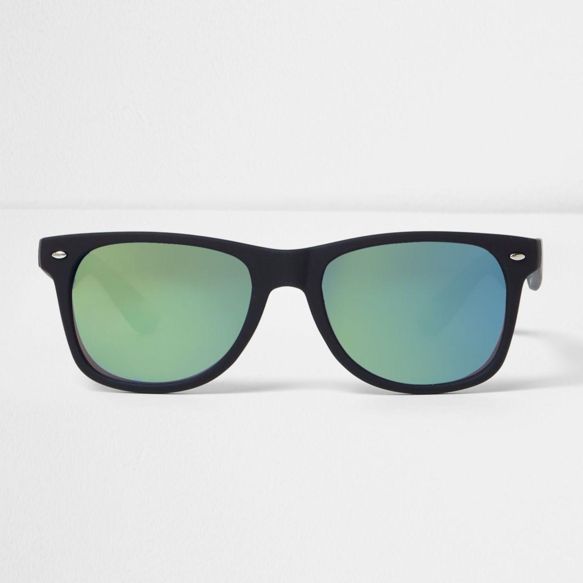 Lunettes de soleil rétro en caoutchouc noir à verres bleus