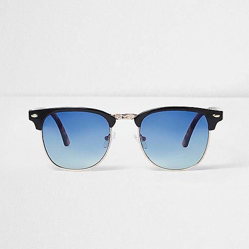 Black retro blue lens sunglasses