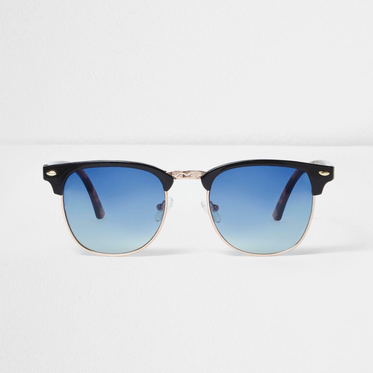 Zwarte retro zonnebril met blauwe glazen