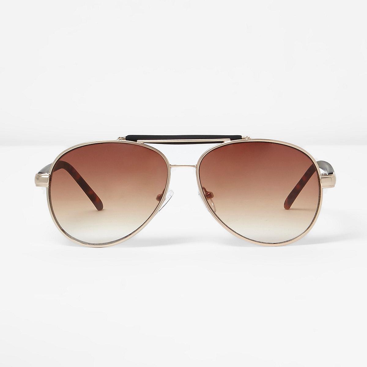 Gold contrast brow bar aviator sunglasses