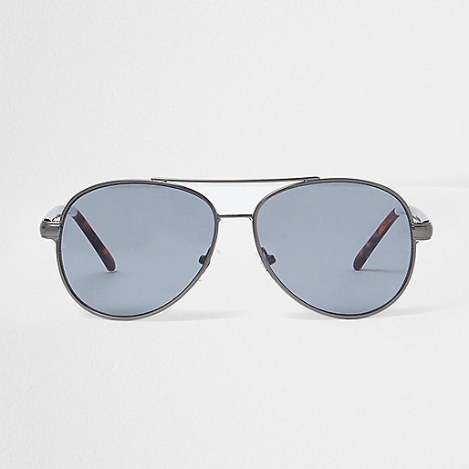 Grey tone tortoiseshell aviator sunglasses