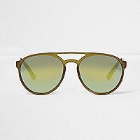 Dark green aviator sunglasses