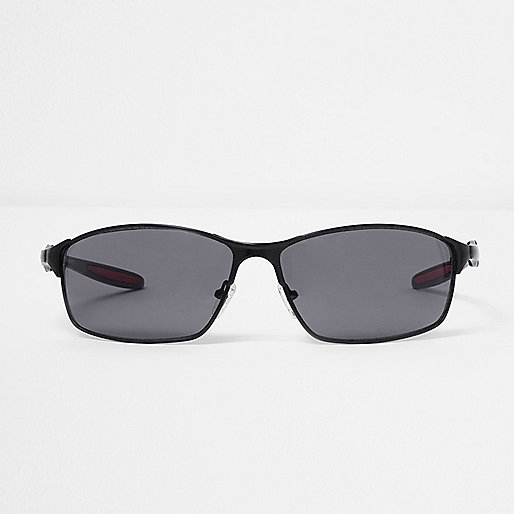 Black rubberised wraparound sunglasses