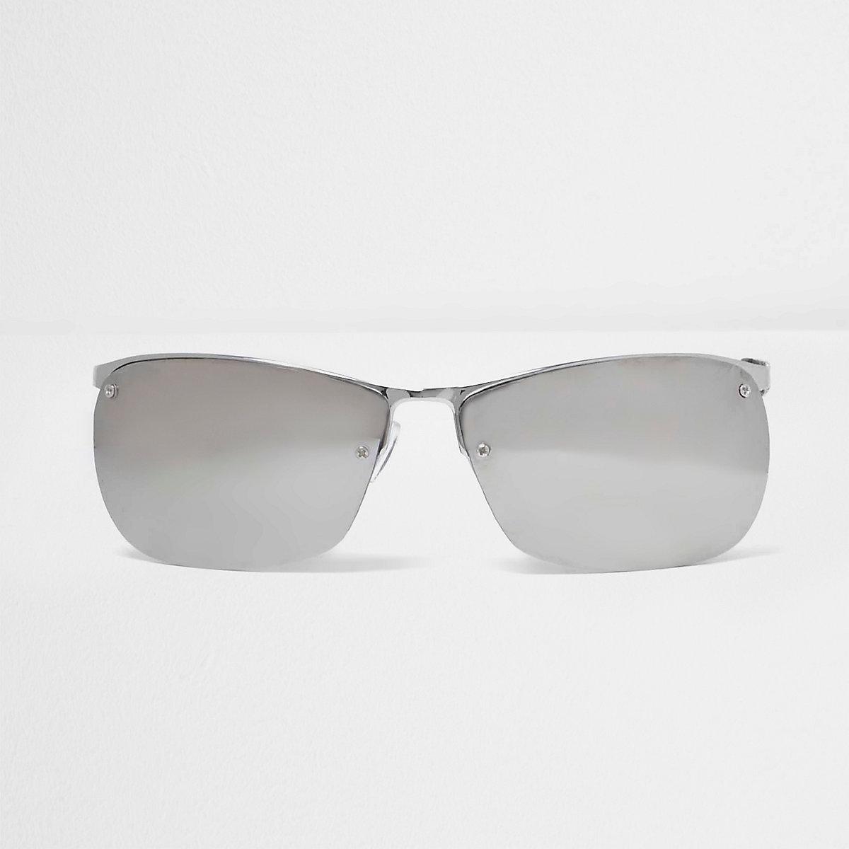 Silver tone sporty sunglasses