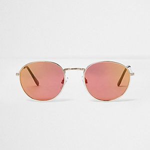 Rose gold tone round sunglasses