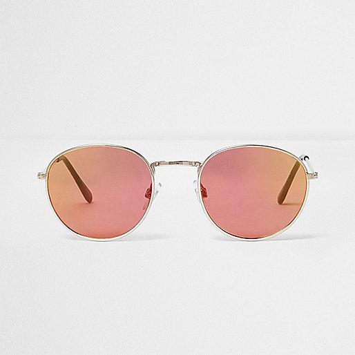 Rose gold tone round sunglasses