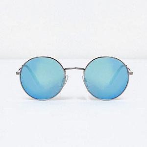 Lunettes de soleil rondes argentées effet miroir à verres bleus