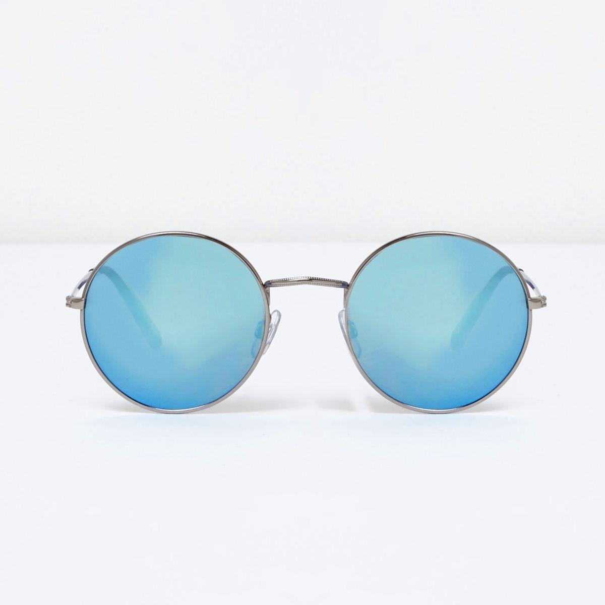 Zilverkleurige ronde zonnebril met blauwe spiegelglazen