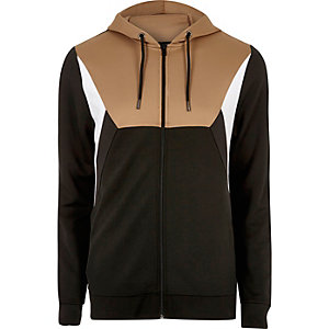 Light brown block zip through hoodie