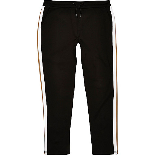 Black side stripe joggers