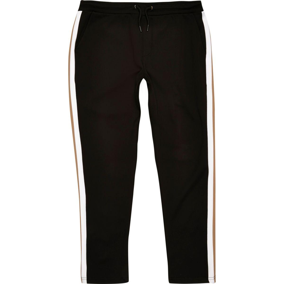 Black side stripe joggers