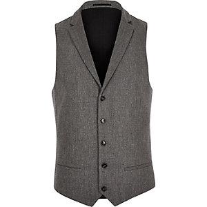 Grey wool blend slim fit waistcoat