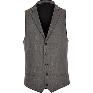 Grey wool blend slim fit vest