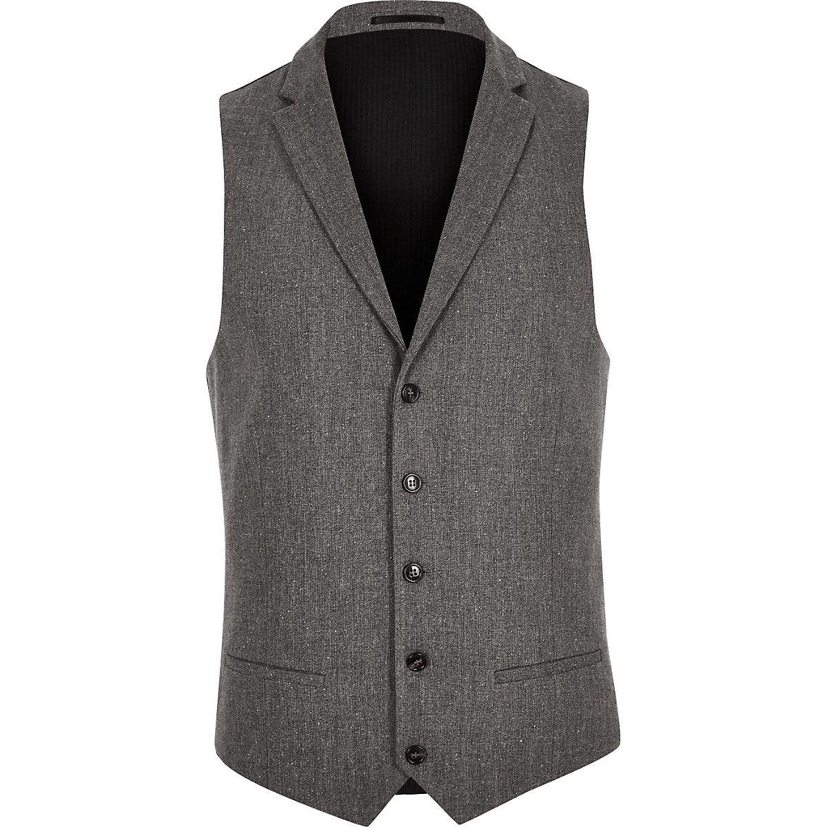 Grey wool blend slim fit vest