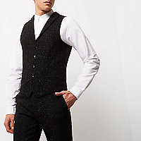 Black flecked slim fit vest