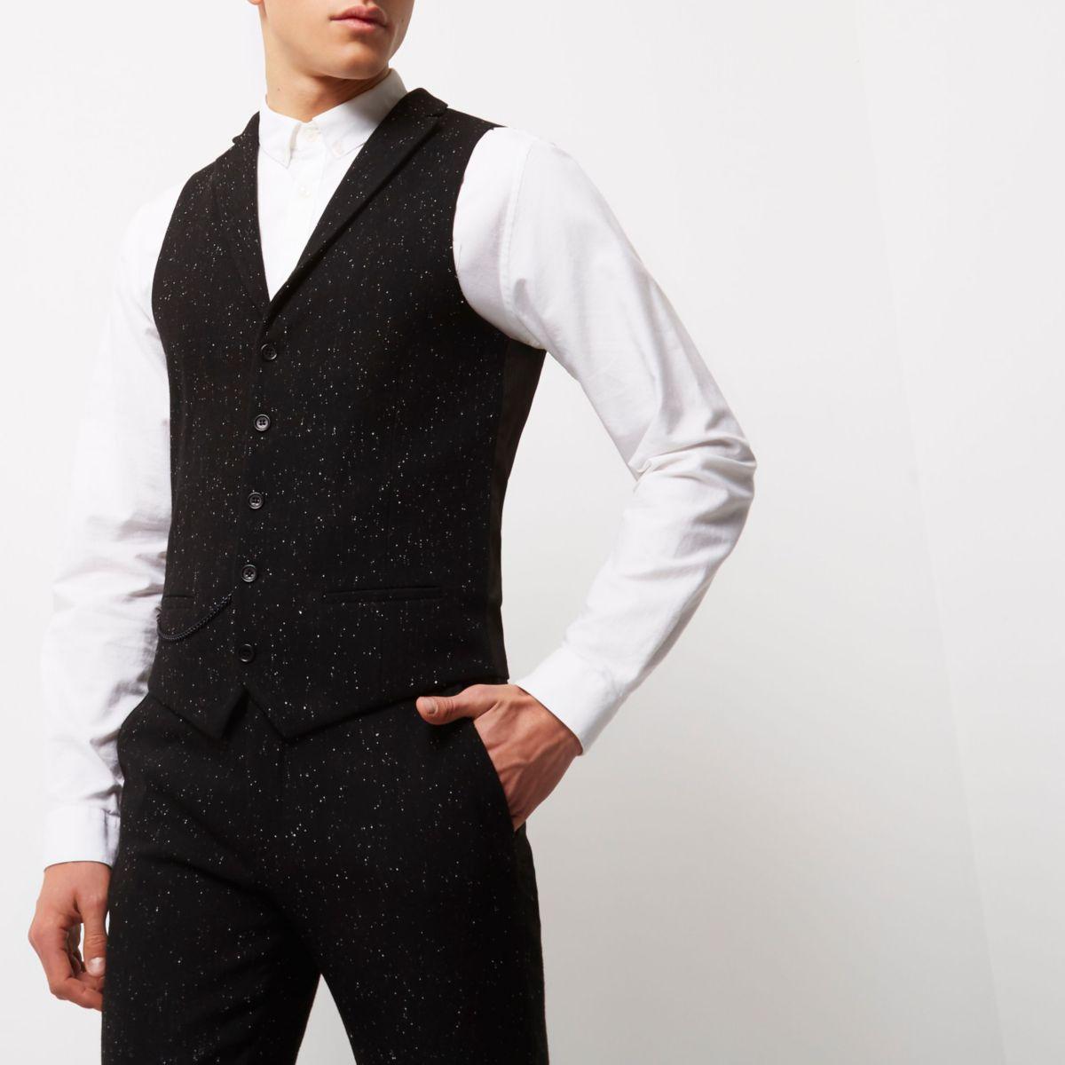 Black flecked slim fit vest