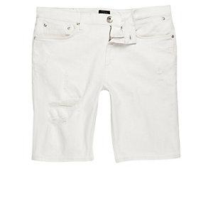 Short en jean blanc usé coupe skinny