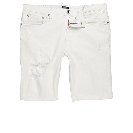 White distressed skinny fit denim shorts