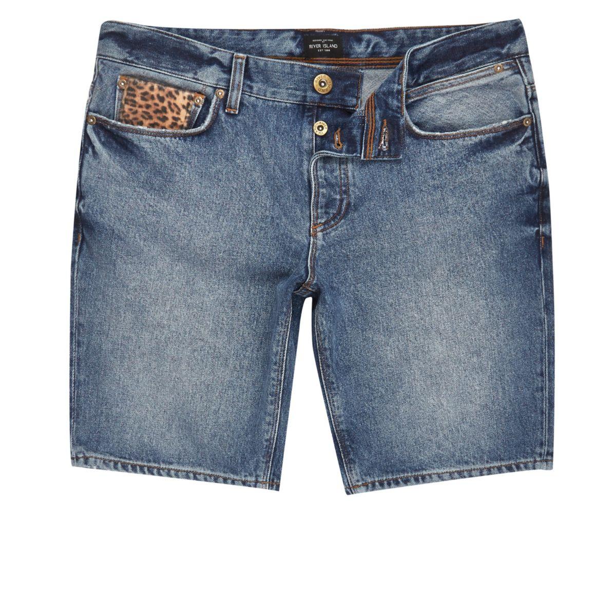 Blauwe skinny-fit short met opzetstuk met luidpaardprint