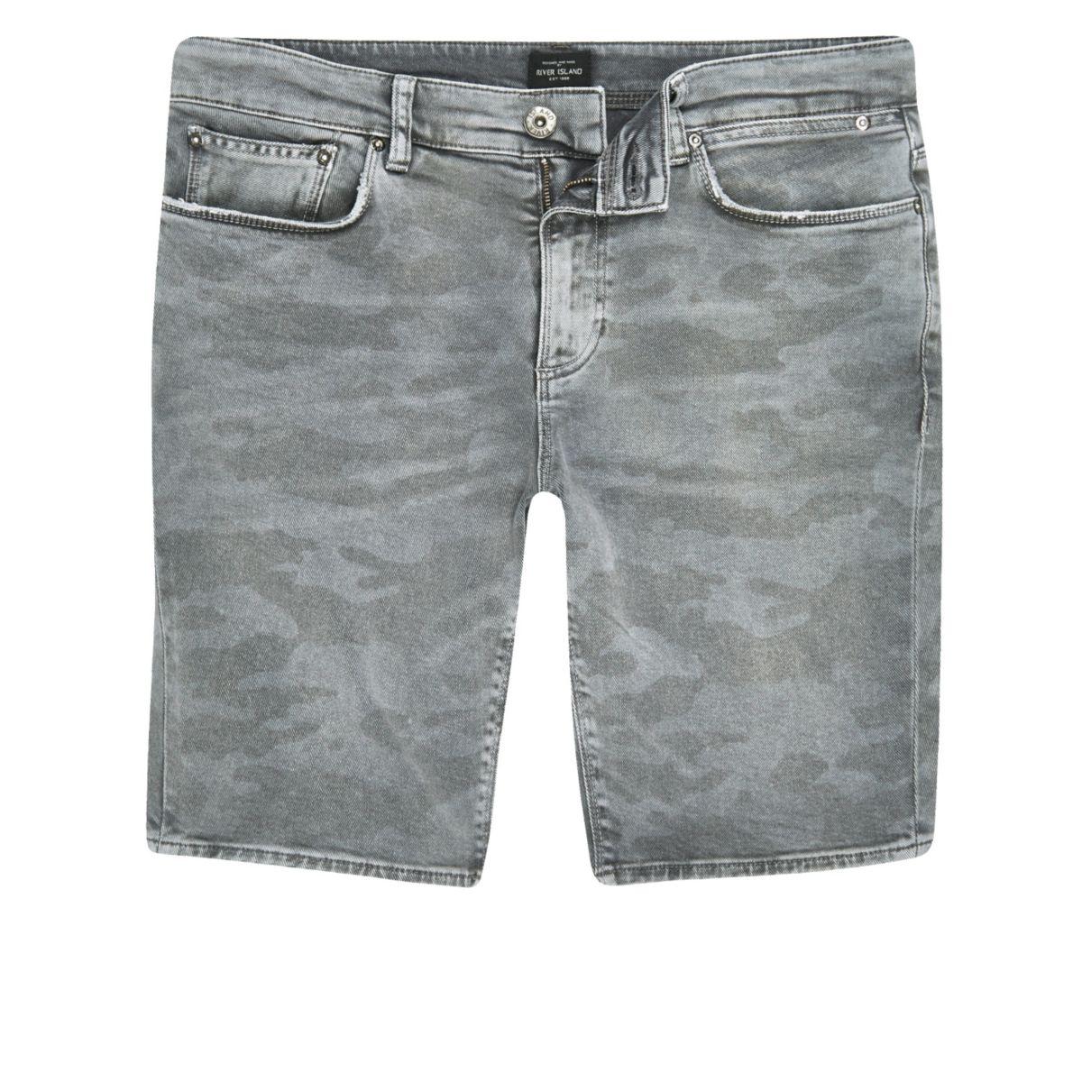 Grey camo print skinny fit denim shorts
