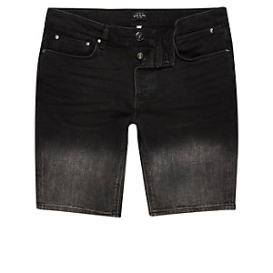 Black denim faded shorts