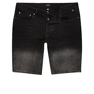 Short en jean noir délavé