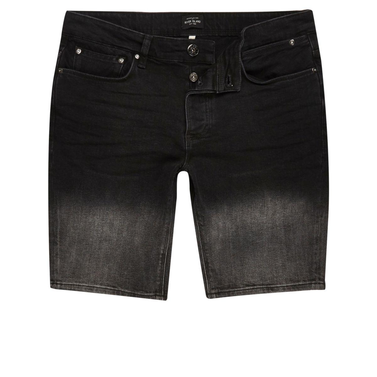 Schwarzes, verwaschenes Jeanshemd