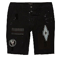 Black patch chino shorts